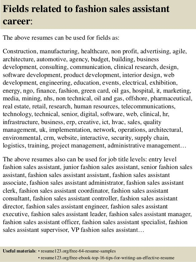 top 8 fashion sales assistant resume sles