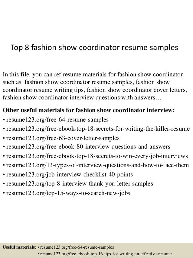 top 8 fashion show coordinator resume samples