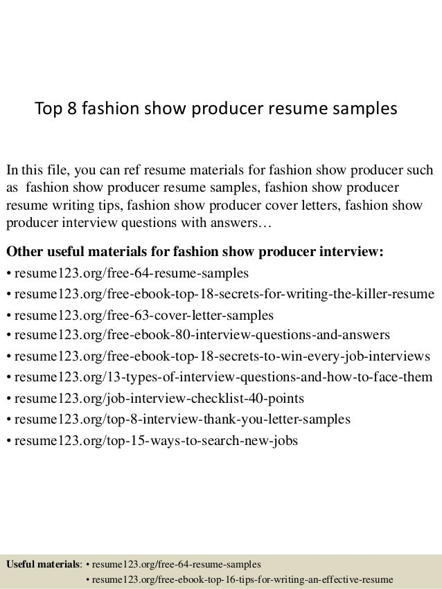 fashion show producer resume samplesin this file you can ref resume