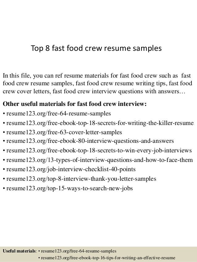 Fast Food Resume Templates