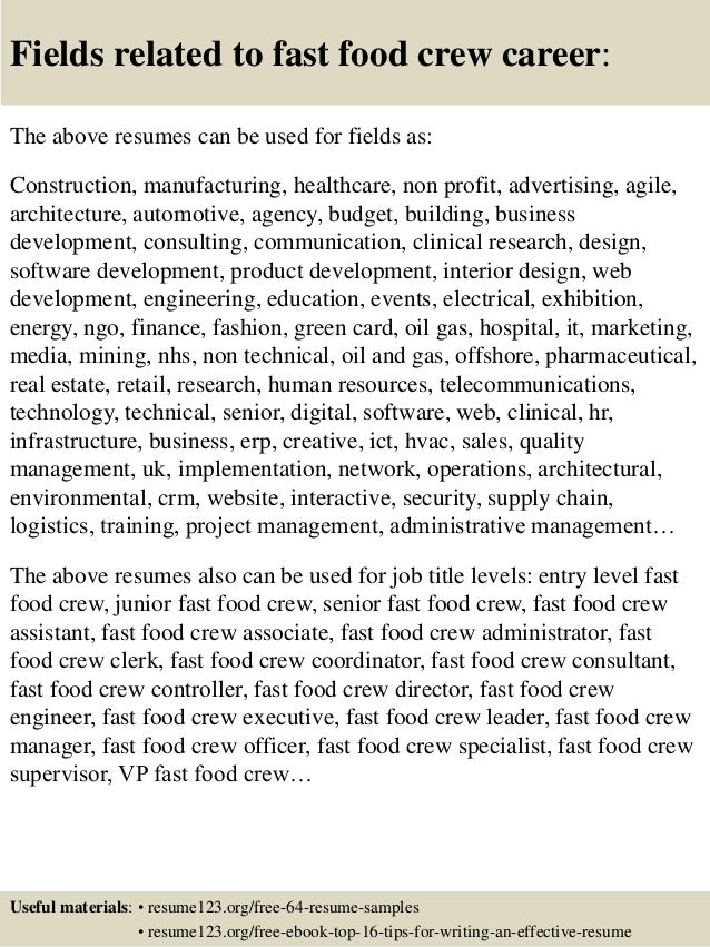 Top 8 Fast Food Crew Resume Samples
