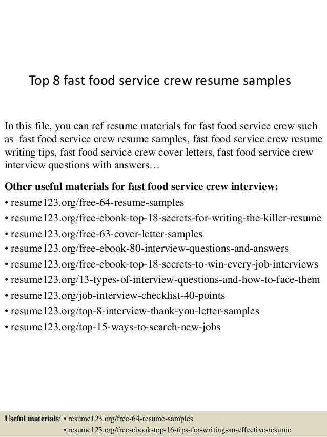 Top 8 Fast Food Service Crew Resume Samples In This File, You Can Ref Resume  ...