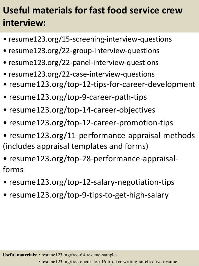 Sample Resume Objective For Food Service Crew