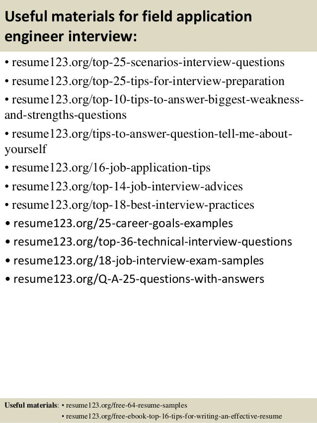 13 useful materials for field application engineer - Field Application Engineer Sample Resume
