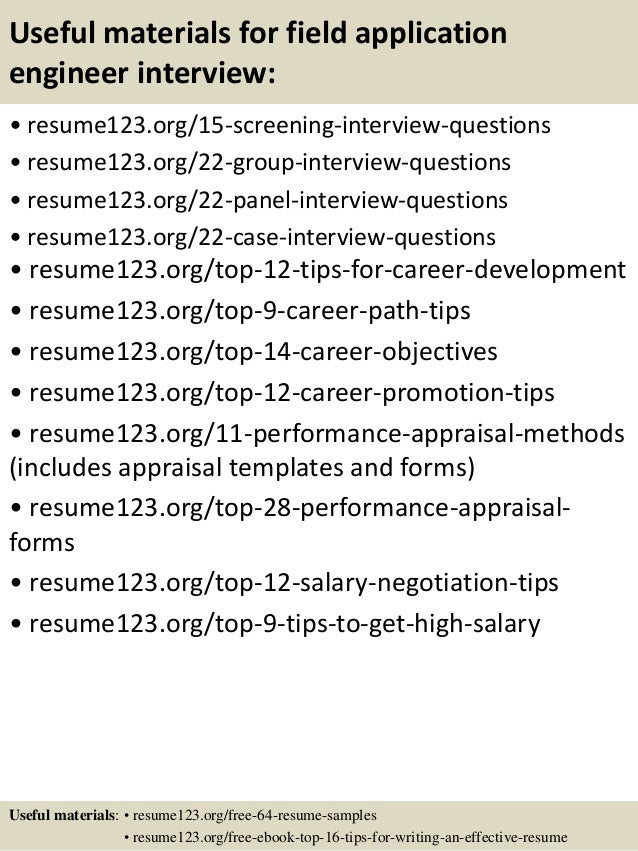 15 useful materials for field application engineer - Field Application Engineer Sample Resume