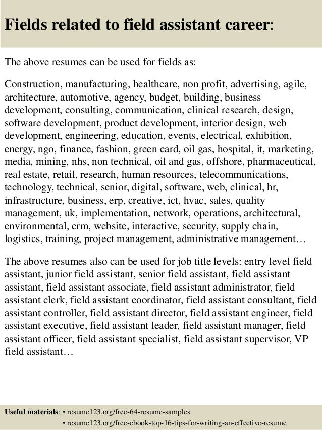 Top 8 field assistant resume samples