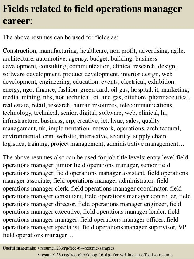 Field operation manager sample resume
