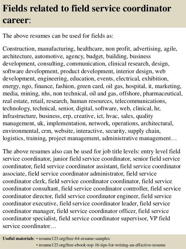 service coordinator resume