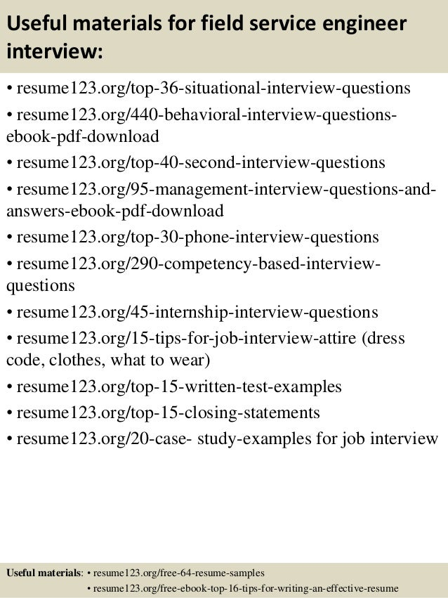 12 useful materials for field service engineer - Biomedical Field Service Engineer Sample Resume