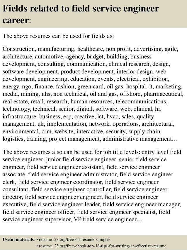 16 fields related to field service engineer - Medical Service Engineer Sample Resume