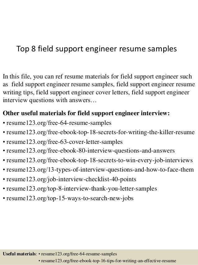 top 8 field support engineer resume sles