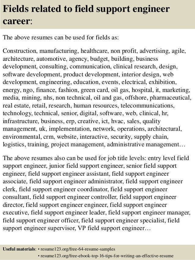 fields related to field support engineer - Field Support Engineer Sample Resume