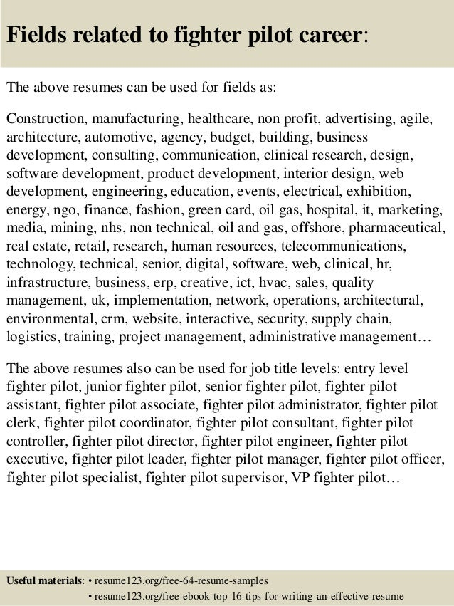 Top 8 fighter pilot resume samples