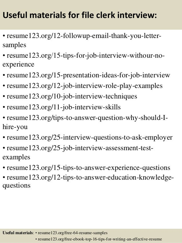 14 useful materials for file clerk - File Clerk Resume Sample