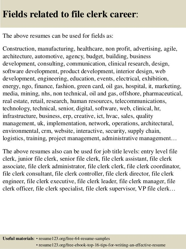 16 fields related to file clerk - File Clerk Resume Sample