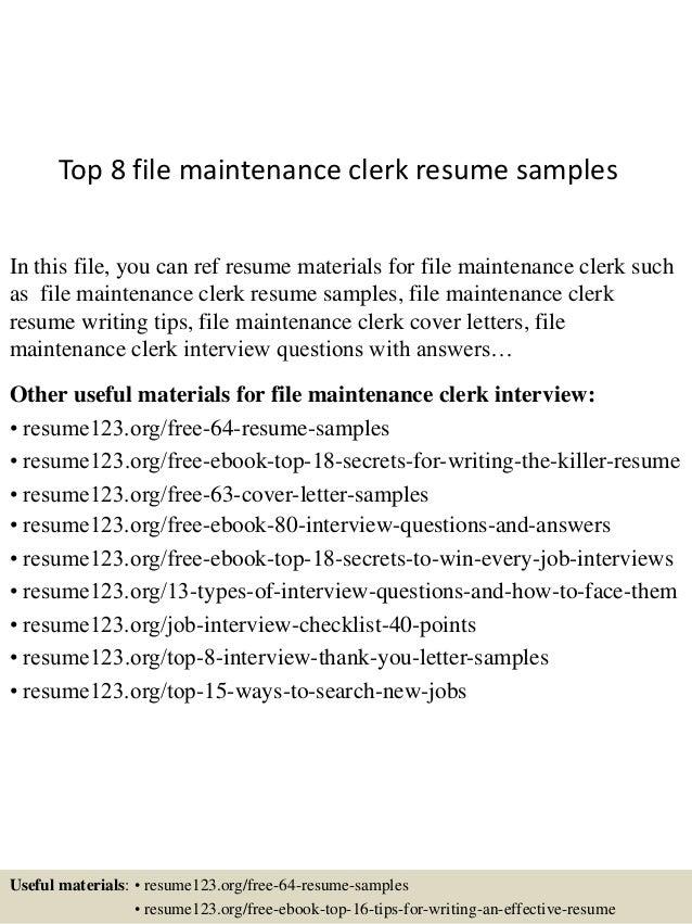 Top 8 file maintenance clerk resume samples