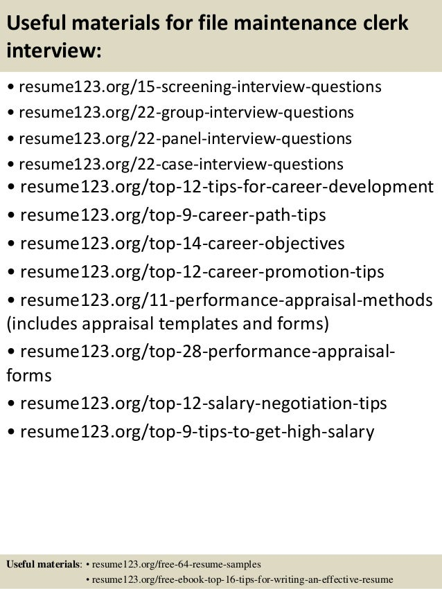 15 useful materials for file maintenance clerk - Maintenance Clerk Sample Resume