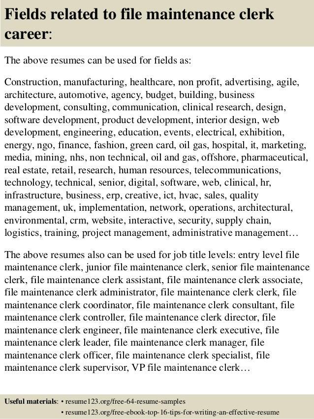 16 fields related to file maintenance clerk - Maintenance Clerk Sample Resume
