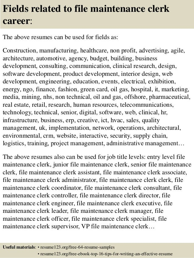 Maintenance Clerk Cover Letter - sarahepps.com -