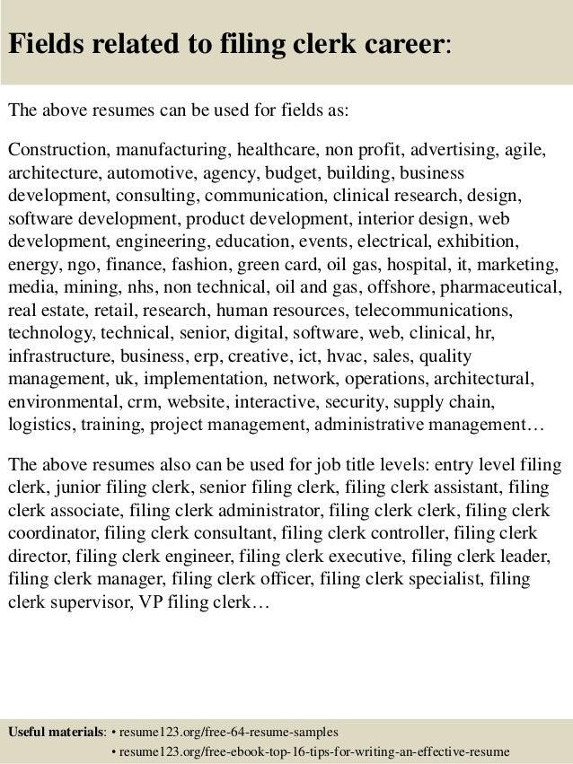 top 8 filing clerk resume samples