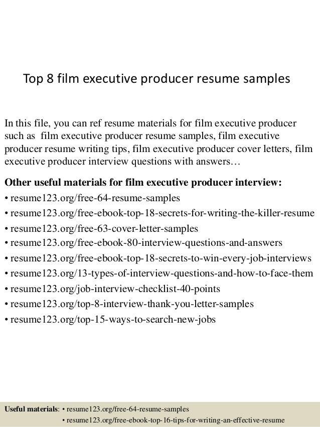 Executive Producer Resume Examples. resume producer resume ...