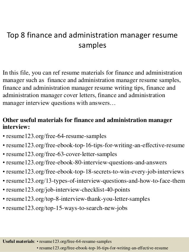 Top 8 Finance And Administration Manager Resume Samples In This File, You  Can Ref Resume