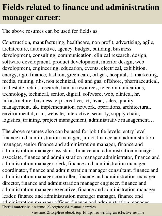 16 fields related to finance and administration manager