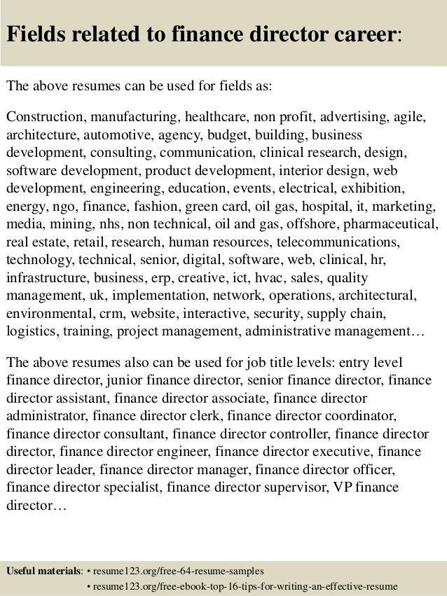... 16. Fields Related To Finance Director ...