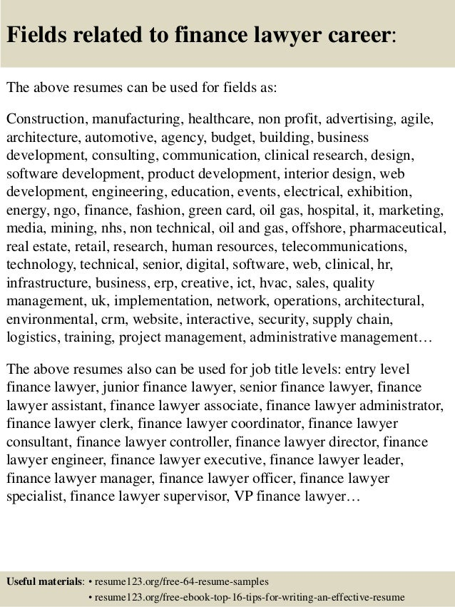 Top 8 Finance Lawyer Resume Samples