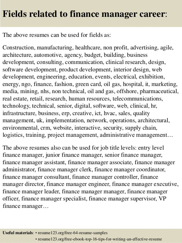 ... 16. Fields Related To Finance Manager ...
