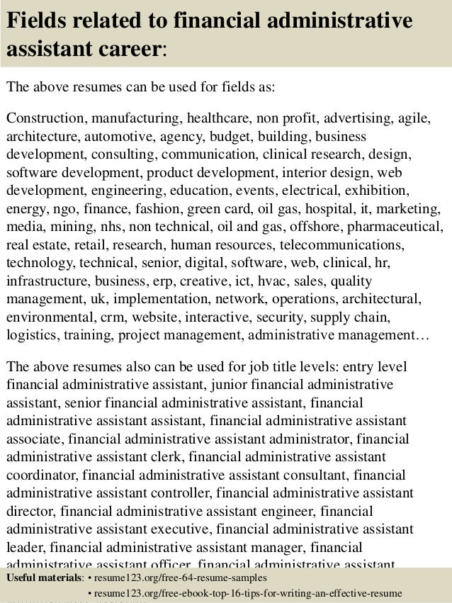 ... 16. Fields Related To Financial Administrative Assistant ...  Financial Assistant Resume
