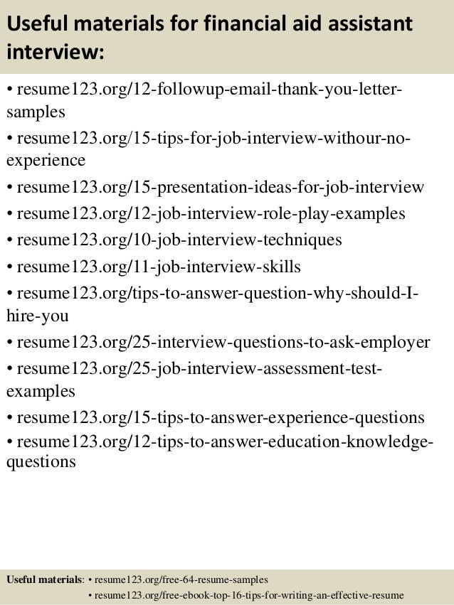 top 8 financial aid assistant resume samples
