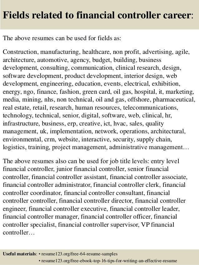 16 fields related to financial controller - Sample Financial Controller Resume