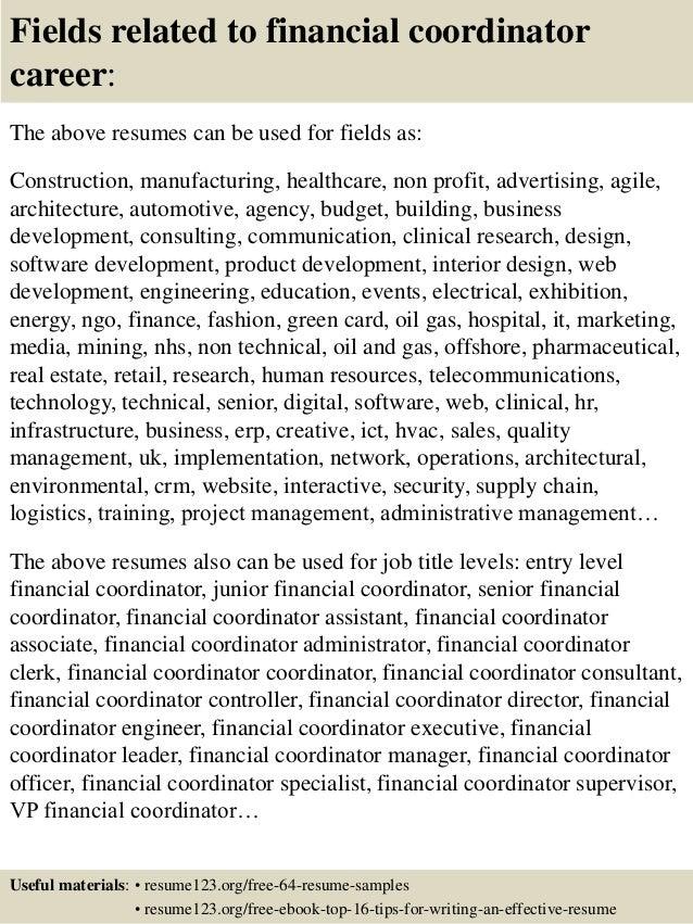 top 8 financial coordinator resume samples