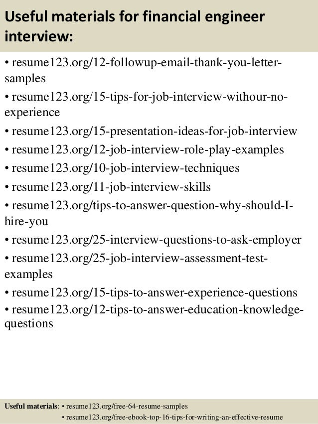 14 useful materials for financial engineer - Financial Engineer Sample Resume