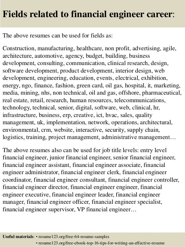 Top 8 Financial Engineer Resume Samples