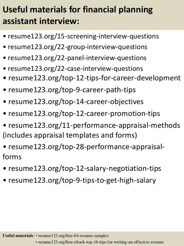 15 useful materials for financial planning assistant - Financial Planning Assistant Sample Resume