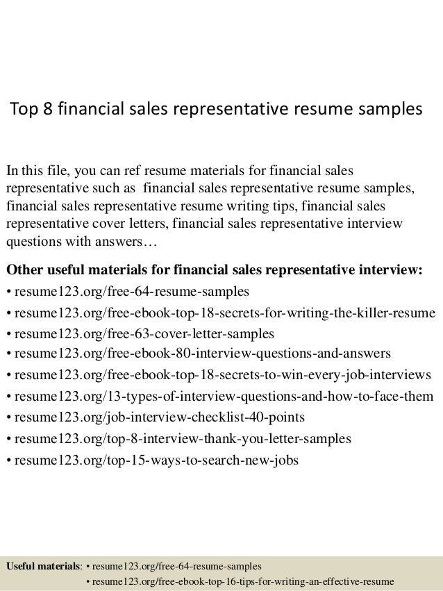 top 8 financial sales representative resume samples 1 638 jpg cb 1432804501