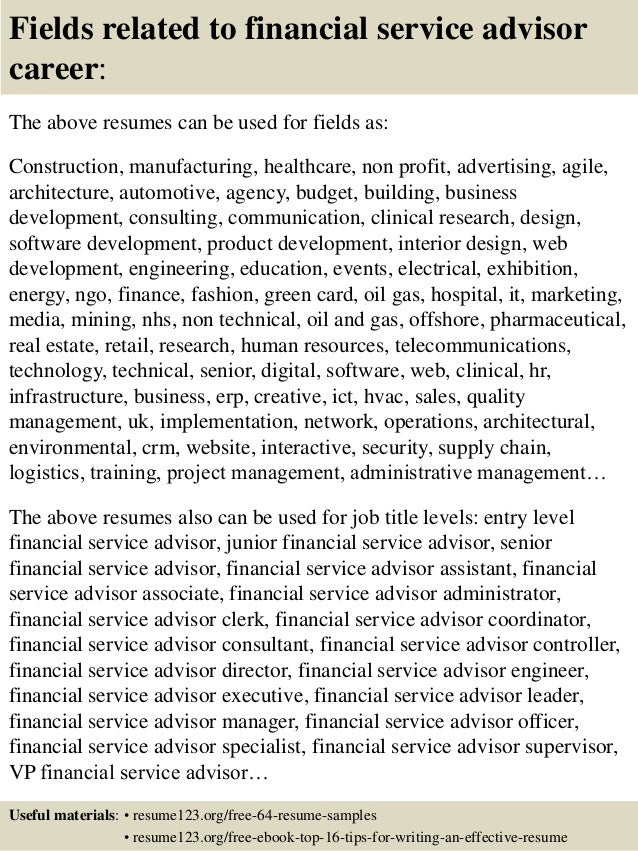 16 fields related to financial service advisor sample financial service consultant resume - Investment Advisor Sample Resume