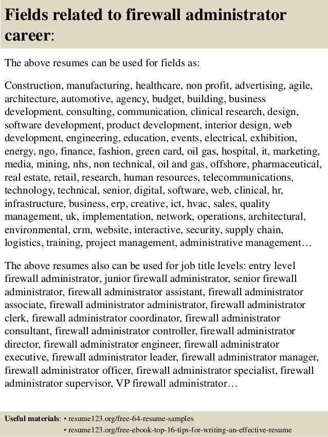 top 8 firewall administrator resume samples