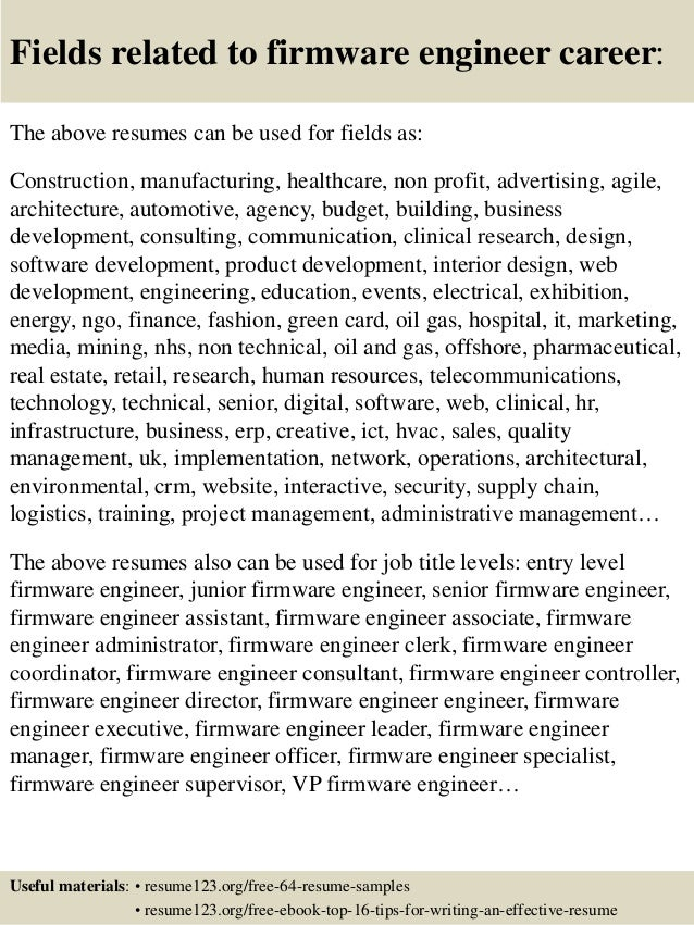 16 fields related to firmware engineer - Embeded Firmware Engineer Sample Resume