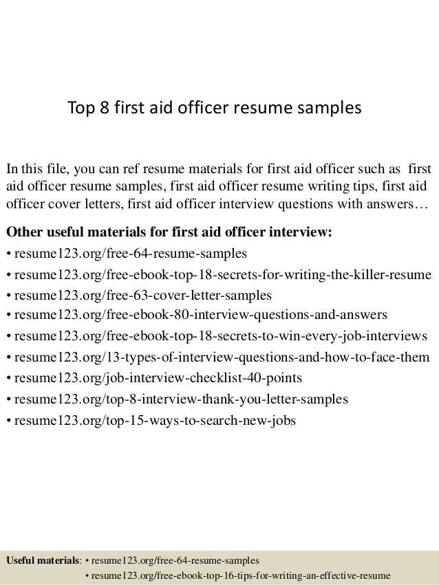 https://image.slidesharecdn.com/top8firstaidofficerresumesamples-150623104348-lva1-app6891/95/top-8-first-aid-officer-resume-samples-1-638.jpg?cb\u003d1435056272