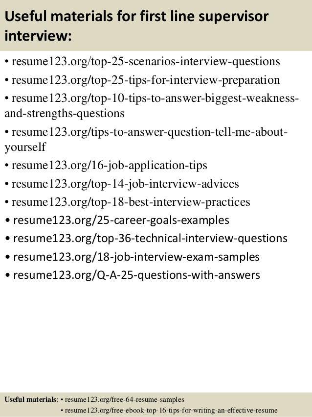 Top 8 first line supervisor resume samples