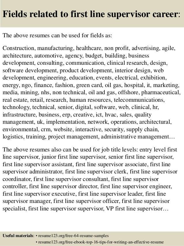 Supervisor Resume Samples Best Of Top 24 First Line