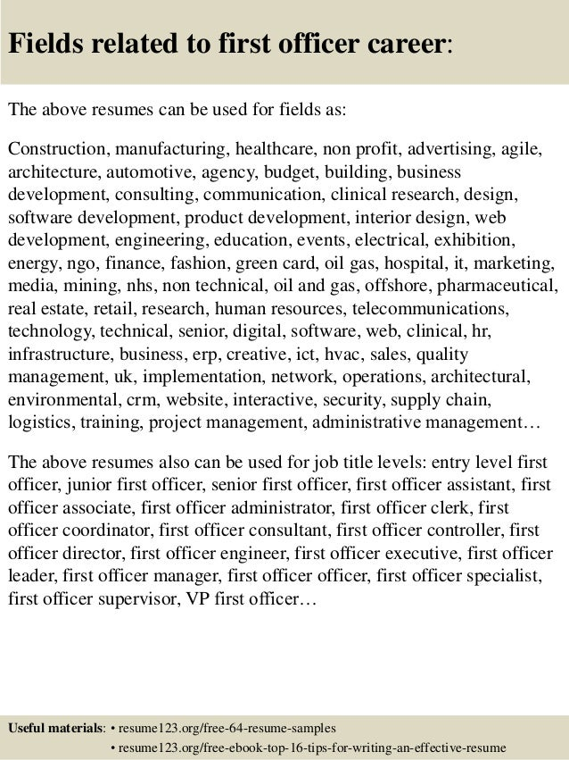 Top 8 First Officer Resume Samples
