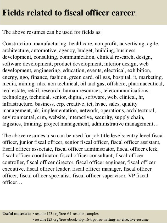 16 fields related to fiscal officer - Fiscal Officer Sample Resume