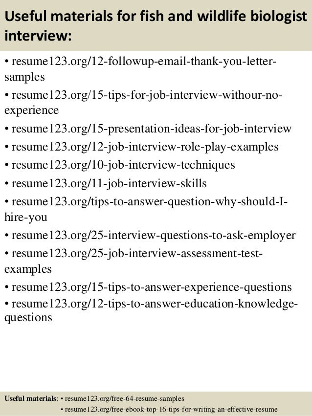 14 useful materials for fish and wildlife biologist. Resume Example. Resume CV Cover Letter