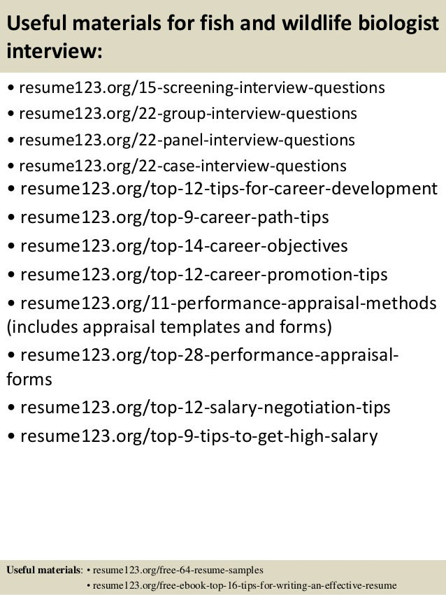 Top 8 fish and wildlife biologist resume samples