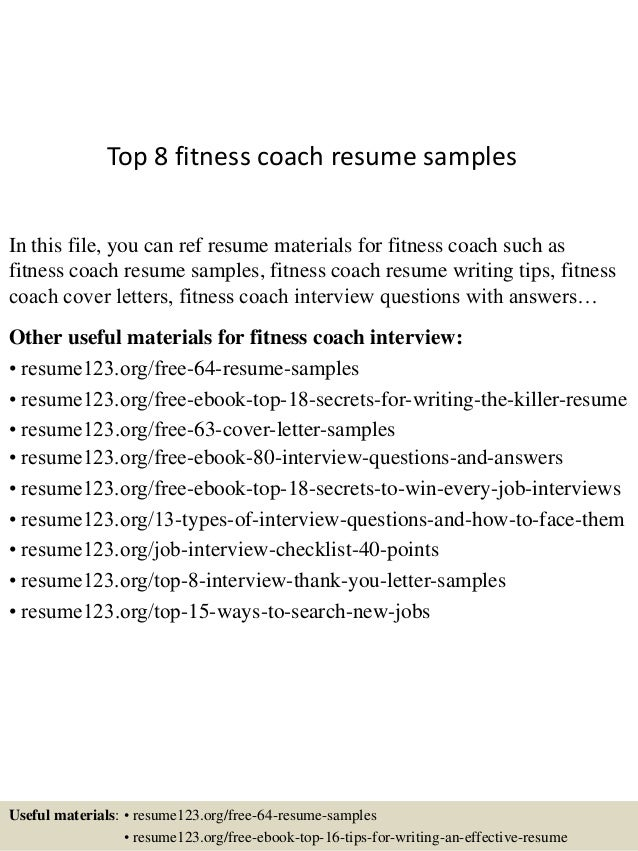 top 8 fitness coach resume samples