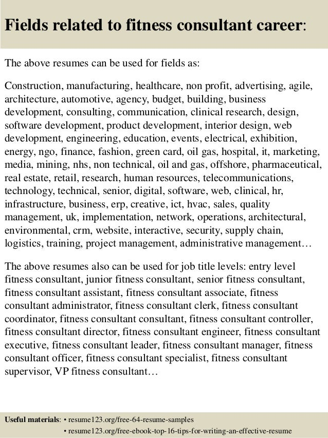 fitness consultant manager resume